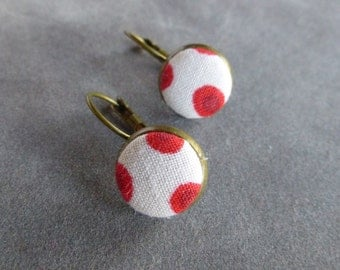 Fabric Covered Button Earrings // Bronze // Dangle// Orange // Red // Pink // Mod Polka Dot
