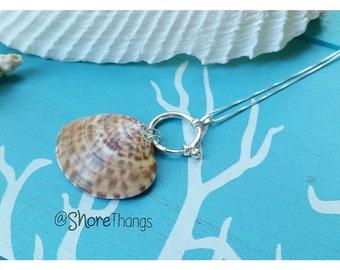 BOGO! Nautical FL Sea Shell Calico Clam Necklace - Boho - SoFlo - Sterling Silver