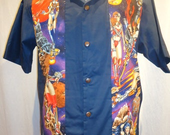 Space Vixens Galaxina on Navy, Ready to ship Men's Size Large Shirt