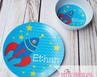 Personalized Kids Plate   Rocket Ship Melamine Dinner Plate and bowl dinner set   Kids Dinnerware   Birthday Gift