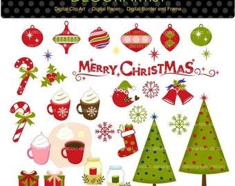 ON SALE Christmas clip art, Christmas  clip art, christmas frame,christmas banner, christmas bunting clip art, digital clipart,instant downl