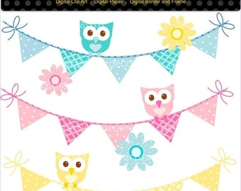 ON SALE Owls clipart, bunting clipart, Bunting and owls clipart, personnel and commercial use