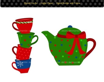 ON SALE Christmas clip art,chirstmas hot chocolate,coffee cup stack clip art,hot chocolate clip art, digital clipart,instant download