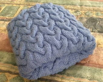 PRICE REDUCED, Chunky hand knit baby blanket, Bluebell, 27x35