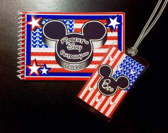 American Flag Mickey Mouse Disney Autograph Book and Disney Luggage Tag - USA Autograph Book - 4th of July Disney - American Flag Disney Set
