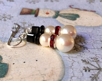 Brrrr White Snowman Earrings. You Choose Ear Wire