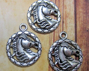 10 Antique silver horse head charms cowgirl jewelry pendants western jewelry supply pendant 20mm x 24mm Bus521-DD6