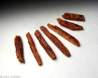 7 Small Orange Kyanite Crystals, Raw Natural Pieces // Sacral Chakra // Crystal Healing // Mineral Specimens