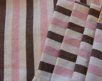 Vintage Pink & Brown Table Topper w/ 4 Napkins ~ French Bistro