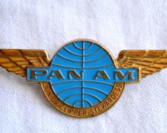 Vintage Pan AM Junior Stewardess Wings Pin - Airlines Metal Pin Back