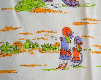 Vintage Fabric - Little Girls Playing Landscape - 44 x 41  Orange and Purple