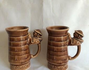 Set of 2 Black Monk Mugs