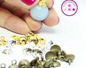 Medium Silver/Gold/Bronze  Bead Caps for Pendants