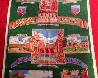 Vintage Souvenir Linen Towel Bath England (L-47  )