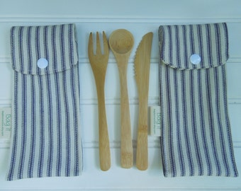 Reusable bamboo cutlery and carrying pouch  - Picnic cutlery case - Flatware pouch - Bamboo cutlery - Stripes