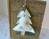 Christmas ornament Shabby tree trim Holiday door hanger Country muslin ornie Tree bowl filler