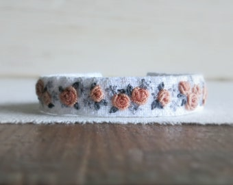 Dusty Pink Roses Fabric Cuff Bracelet - Hand Embroidered Floral Fabric Cuff