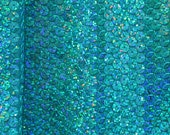 Turquoise Holographic Sequin Spandex Fabric
