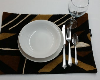 Mudcloth placemats mud cloth, bogolan mustard yellow, black, brown, and ivory place-mat
