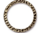 25mm Antique Brass Hammered Ring, Hammertone Ring, 25mm Ring,Hammered Ring, Pewter Ring, TierraCast, Pewter links, Circles, Pewter Circles
