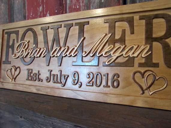 Wedding Gift Signs: Wedding Gift Personalized Family Name Signs 3D Wood Signs