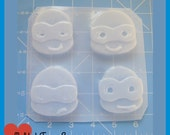 4 Kawaii Turtle Dudes  Flexible Plastic Handmade Resin Mold
