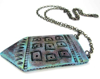 SALE Squared Tag Necklace - Jewellery Necklace, Tribal Unique Handmade Ceramic Art Jewelry No. 330
