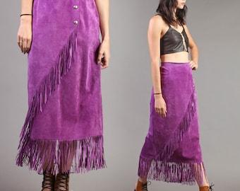 vintage PURPLE high waist PATRICIA WOLF suede fringe tassel leather western maxi wrap skirt 80s 1980s small medium S M