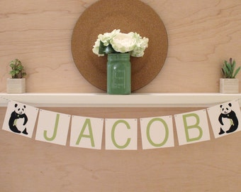 """Panda Banner - Custom Name or Phrase - Optional Bow - Panda Baby Shower or Party Decoration - Custom Colors - 4"""" Tall Pennants"""