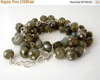 ON SALE Labradorite silver wire wrap bracelet, silver wire wrap labradorite bracelet, labradorite bead bracelet