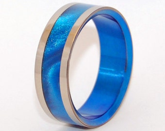 Titanium ring, stone ring, jasper, wedding ring, men's ring, women's ring, unqiue ring - BLUE BIRD
