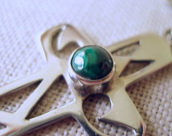 Sterling Silver Cross Pendant with Malachite Cabochon