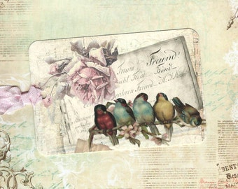 Gift Tags, Bird Tags, Bird Lover, Birds & Roses, Vintage Style