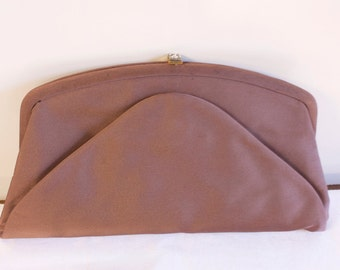 Vintage 1960s Brown evening Clutch with coin purse by Beau Sac
