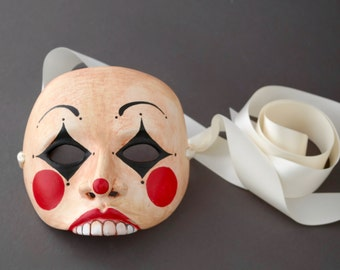 OOAK Handmade Mime, Clown, Circus Wall Mask for Halloween, Masquerade, Ren Faire - One of a Kind