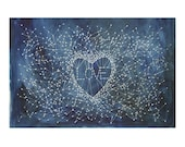 Watercolor Love Painting- Constellation- Star Charts- Dark Blue, White- Hand Painted Stars- 15x22- Watercolour- Valentines Art