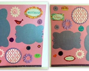 Mother's Day MOM Premade Scrapbook Pages (2) 12x12- Just add photos! Pink and Purple