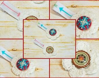 Arrows Crochet Flowers Hair Clips Set, Native Tribal Boho Style, Little Girl Non Slip, Toddler Baby Gift, First Birthday, Alligator Clippie