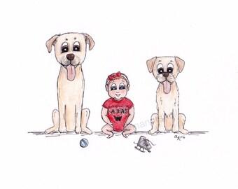 custom family pet caricature