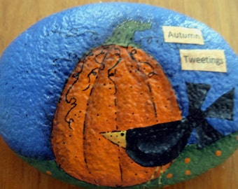 Crow and Pumpkin Autumn Garden Stone  - Handpainted|Home Decor|Paperweight|Garden