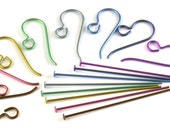 Full Spectrum Rainbow Niobium Earring Findings Kit - 8 Pairs Earwires and Headpins in Colourful Anodized Hypo Allergenic Metal Non-Tarnish