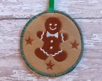 Gingerbread Man Embroidered Christmas Ornament