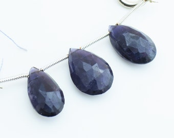 Big Iolite Gemstone Faceted Briolettes Qty 3