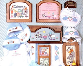 Carriages Baby Nursery Rabbits Zoo Animals Bibs Pictures Hats Pillows Counted Cross Stitch Embroidery Craft Pattern Leaflet DS-29