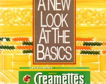 Creamettes Pasta Cooking Leaflet Borden Macaroni Basics Recipes Mac and Cheese Different Shapes and Names Cooking Tips Advertising Ephemera