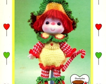 Peppermint Stick Crocheted Ruffled Hat Red White Sleeves Leggings Yellow Pantsuit shoes Soft Body Sculpture Doll Craft Pattern Leaflet