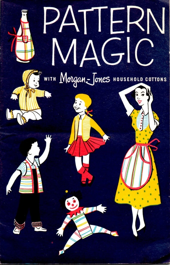 Pattern Magic Cotton Towel and Dishcloth Craft Pattern Leaflet Toaster Cover Cafe Curtain Bib Clown Doll Kids Clothes Vintage 1950s Pamphlet