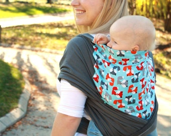100% Cotton Baby Carrier - Hybrid Stretch Wrap - Foxy - Comfortably Carry Newborn to Toddlers in Front or Back Carries.