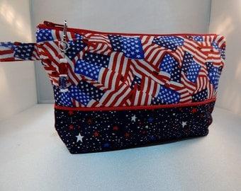 USA Flag Print American Navy Stars Zipper Pull Ready to Ship Makeup Cosmetic Organizer Bag