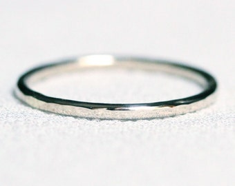 Select a Gold - Simple Thin 14k Gold Hammered Stack Ring - Solid 14k Green or White or Yellow or Rose Gold Band Ring Delicate Dainty Thin